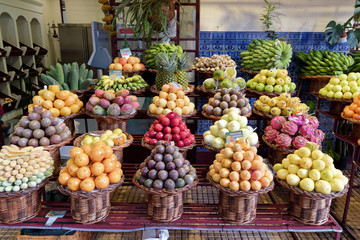 Fresh exotic fruits on famous market in Funchal (Mercado dos Lavradores), Madeira island