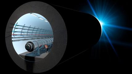 Sezione 3d del tunnel del Cern. Organizzazione europea per la ricerca nucleare. E' il più grande laboratorio al mondo di fisica delle particelle. 3d rendering. Svizzera, Francia