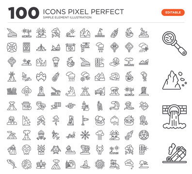 Set of 100 linear icons such as Accident, Pollution, Landslide, Disease, Sink, Co2, Oil, Whirlpool, Global warming, Tsunami