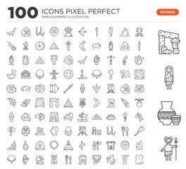 Set of 100 linear icons such as Troglodyte, Pottery, Dolmen, Bonfire, Saber toothed tiger, Mammoth, Axe