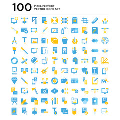 100 pack of Brainstorm, Light bulb, Analytics, Pencil case, Cube, Text, Coding, Graphic de, Startup icons, universal icon set