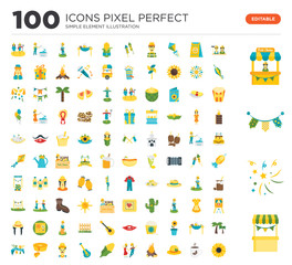 100 Set of icons such as Stand, Firework, Garlands, Farmers, Coffee, Hat, Bonfire, Dancers, Corn