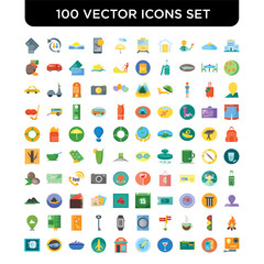 Set of 100 Vector icons such as Hotels, Brochure, Wallet, Cocktail, Rocket, Cafe, Flights, Cruise, Plane, Meal