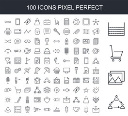 100 line icon set. Trendy thin and simple icons such as Group, Gallery, Shopping cart, Water, Stars, Down arrow, Heart, Up Right arrow