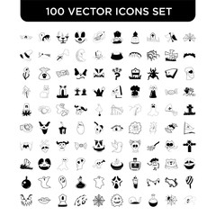 Set of 100 Vector icons such as Spider, Spiderweb, Potion, Monster, Full Moon, Tomb, Mouth, Pumpkin Face