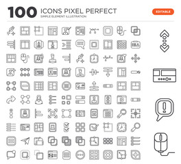 Set of 100 linear icons such as Mouse, Exclamation, Slider, Scroll, Overlap, Enlarge, Cancel, Layout, More, Menu