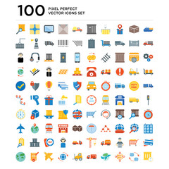 100 pack of Ship, Global, Earth, Moving truck, Forklift, Airplane, Check list, World map icons, universal icon set