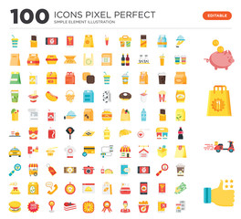 100 Set of icons such as Review, Delivery, Bag, Saving, Tray, Ordering, Fried chicken, Operator, Guarantee, Preparation
