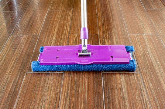 mop on the floor close up