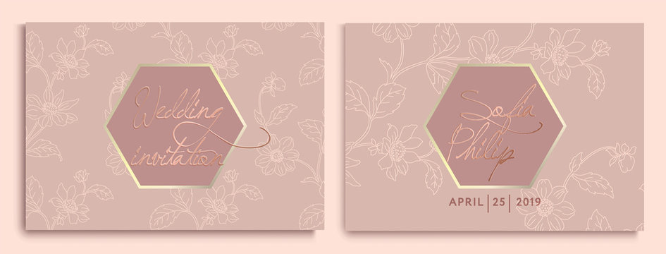 Wedding invitation with flowers and leaves on gold, dark texture. luxury wedding card on gold backgrounds, artistic covers design, colorful texture. Luxury Vector illustration