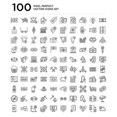 100 linear pack of Blockchain, Peer to peer, Cryptocurrency, Contract, Protection, Bitcoin, Digital key, Analytics line icons, universal thin stroke icons set