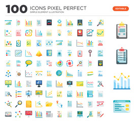 100 Set of icons such as Browser, Analytics, Clipboard, Search, Laptop, Tasks, Newspaper