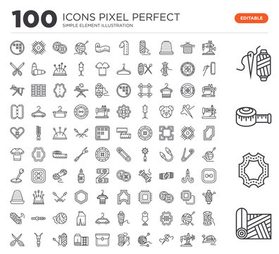Set of 100 linear icons such as Fabric, Leather, Measuring tape, Spool thread, Sewing machine, Sewing, Crochet, Thread, Pocket