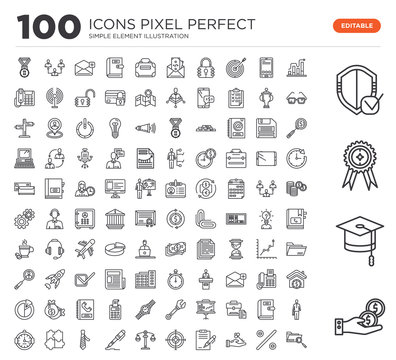 Set of 100 linear icons such as Give Money, College Graduation, Premium Badge, Safe Shield Protection, Graphic Progression, Percentage Discount, Hanging Over the Key, , Arm Target, Weight Balance