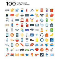 100 pack of Gift, Airplane, Checked, Settings, Certificate, Mortarboard, Letter, Map, Car, Search icons, universal icon set