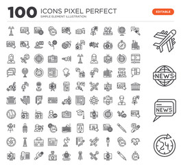 Set of 100 linear icons such as Circular Arrow Clock, News, Airplane, Interview, Pencil, Tv, Satellite, Broadcast communications tower, Live News Report