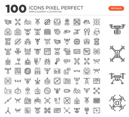 Set of 100 linear icons such as drone, target, antenna, Connection, map, drone