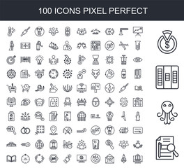 100 line icon set. Trendy thin and simple icons such as executive summary, cthulhu, kanban, capex, lms, stellar lumens, unsubscribe, fire retardant, itsm, touchpoint