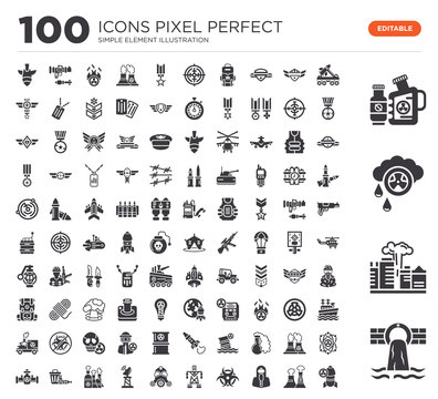 Set of 100 icons such as Waste, Pollution, Acid rain, Radiactive, Missile, Nuclear plant, Hazmat, Biohazard, Electric tower, Gas mask