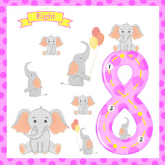 Cute children Flashcard number Eight tracing with 8 elephants for kids learning to count and to write.