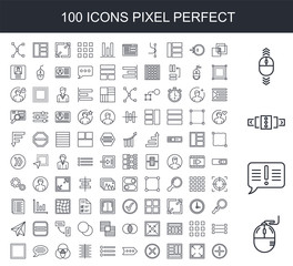 100 line icon set. Trendy thin and simple icons such as Mouse, Exclamation, Slider, Scroll, Overlap, Enlarge, Layout, Cancel, More, Menu