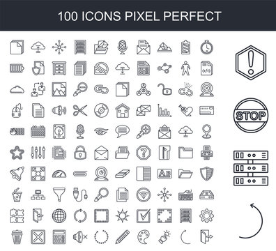 100 line icon set. Trendy thin and simple icons such as Curve Arrow, Server, Stop, Warning, Clock, Button, Palette, Pencil, Loading