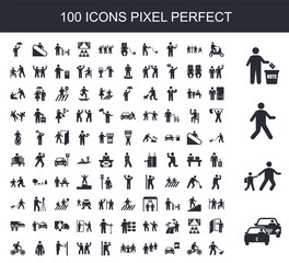 100 filled icon set. Trendy simple icons such as Traffic, Walking to school, Walking, Voting, Scooter, Bicycle, , Eating, Drunk