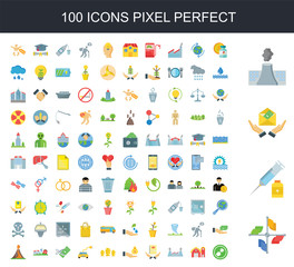 100 icon set. Trendy simple icons such as Union, Vaccine, Salary, Pollution, Medicine, Barn, Factory, Birth, Bribery, Moai
