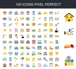 100 icon set. Trendy simple icons such as Pin, Moving truck, Key, House, Elevator, Billboard, Clipboard, Buy, House
