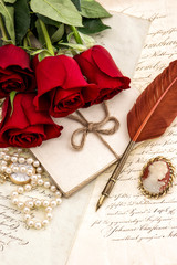 Old letters red rose flowers feather pen Valentined Day Love