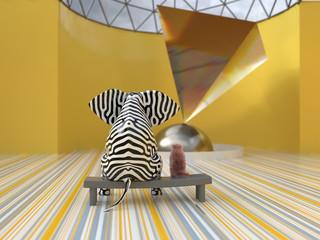 Fototapeta elephant and dog in the modern art museum obraz