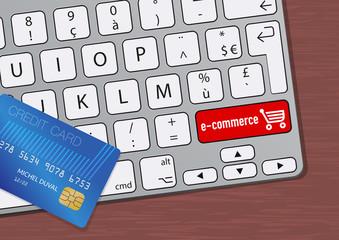 Concept de l'achat par internet avec une carte de crédit posée sur un clavier d'ordinateur