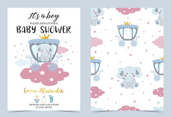 Pink blue birthday invitation with carriage,elephant,bottle,milk and cloud