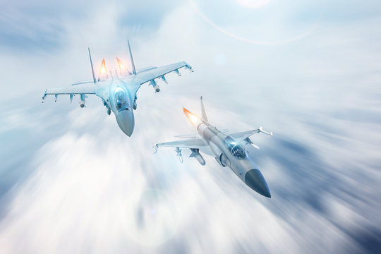 Fighter jet intercepts accompanies another fighter. Conflict, war. Aerospace forces.