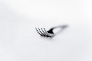 1 metal grey  fork on white background