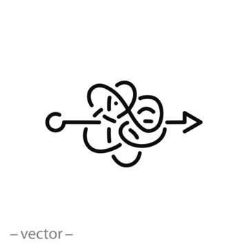 difficult confused process icon, knot or tangle linear sign on white background - editable vector illustration eps10