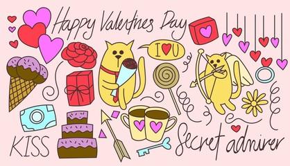 Valentines Day Cat doodle