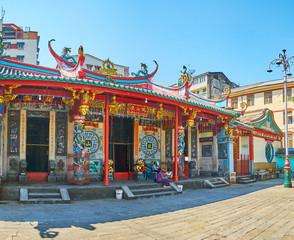 The facade of Long Shan Tang Clan Temple, Yangon, Myanmar