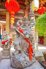 The statue of King Virudhaka at Qingfu Temple, Yangon, Myanmar