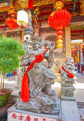 The statue of King Virupaksa at Qingfu Temple, Yangon, Myanmar