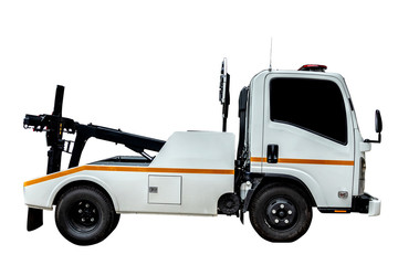 Towing truck transportation emergency car. Tow truck delivers the damaged vehicle isolated on white background with clipping path