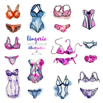 Watercolor lingerie illustration collection