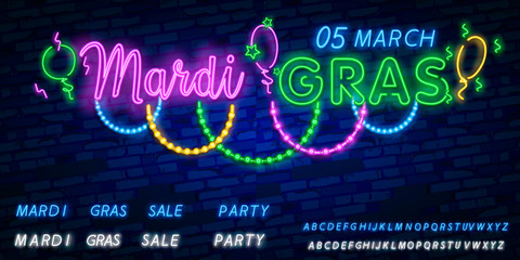 Vector realistic isolated neon sign of Mardi Gras beads logo for decoration and covering on the wall background. Bright neon advertising of carnival, masquerade, dance party. Vector illustration