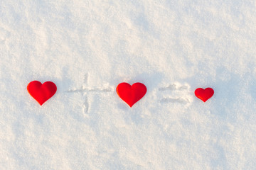 Two big red hearts and one small. Love. Background Valentines Day.Valentines day cards.