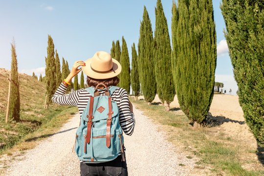 Vacation and travel in famous cypress alley, Tuscany and Italy tourist destination