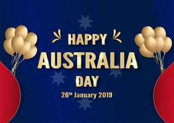Happy Australia Day on 26 January. Template design for poster, invitation card, banner, advertising, flyer. Vector illustration in paper cut and craft style.