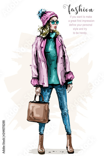 3e92800dd7 Hand drawn beautiful young woman in fashion clothes. Stylish elegant girl  with bag. Fashion