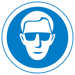 eye safety warning vector sign (wear glasses icon)