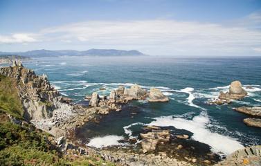 the coast by the ocean in Coruña, Spain