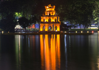 Journey to heaven,Hanoi, Vietnam, Hoan Kiem Lake, the little lake in the old part of Hanoi, Vietnam, with the Turtle Tower, is the symbol of Hanoi,Vietnam Wall mural